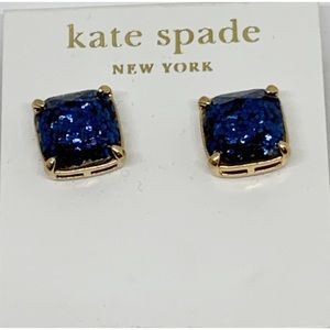 Kate Spade Blue Glitter Sparkle Gumdrop Earrings